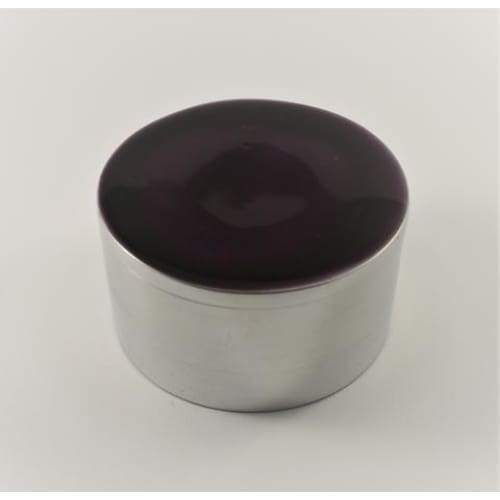 Purple Enamelled Silver Aluminium Circular Trinket Box