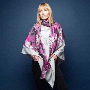Purple & Orchids Large Silk Scarf by Tilley & Grace