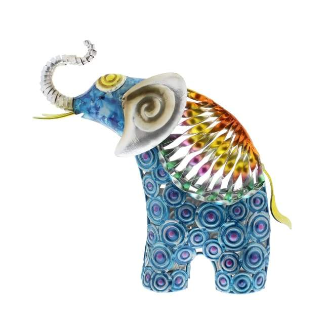 Rainbow Metal Elephant - Hand Crafted & Painted