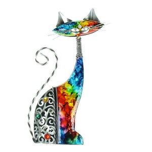 Rainbow Metal Ornament Cat