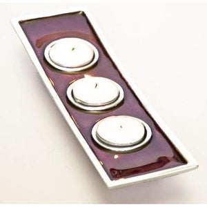 Red Enameled Aluminium Triple Tea Light Holder