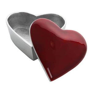 Red Enameled Heart Shaped Silver Aluminium Trinket Box