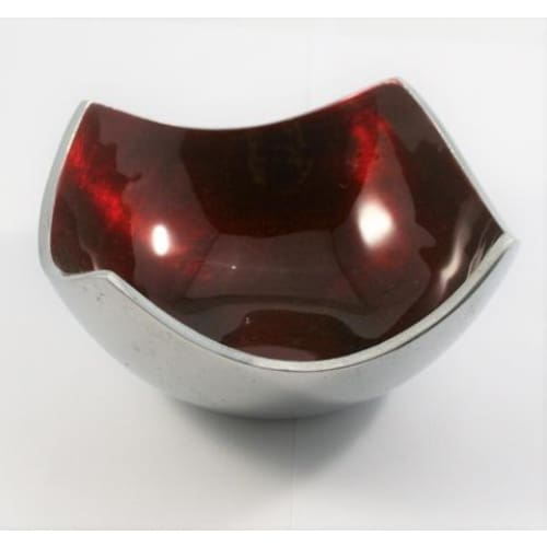 Red Enameled Square Bowl On Polished Silver Aluminium
