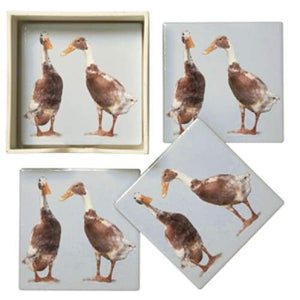 Runner Duck Coasters - Set Of 4 Ceramic