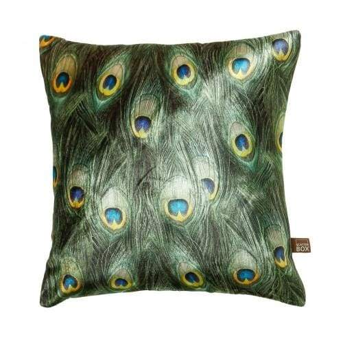 ScatterBox Azure Peacock Design Green/Blue Cushion