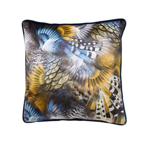 ScatterBox Wilde Blue And Ochre Velvet Cushion - 45cm