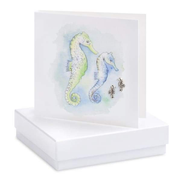 Seahorse Silver Stud Earrings On Designer Card