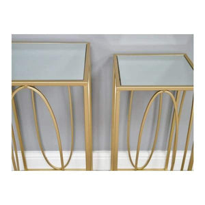 Set Of Two Gold Frame Mirror Top Side  - Please contact store for Shipping Cost