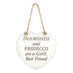 Shabby chic heart - Diamonds and Prosecco are a Girl's Best Friend