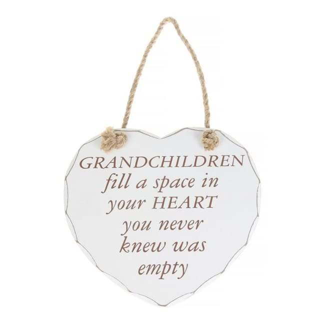 Shabby chic heart - Grandchildren fill a space in your heart you never knew was empty.