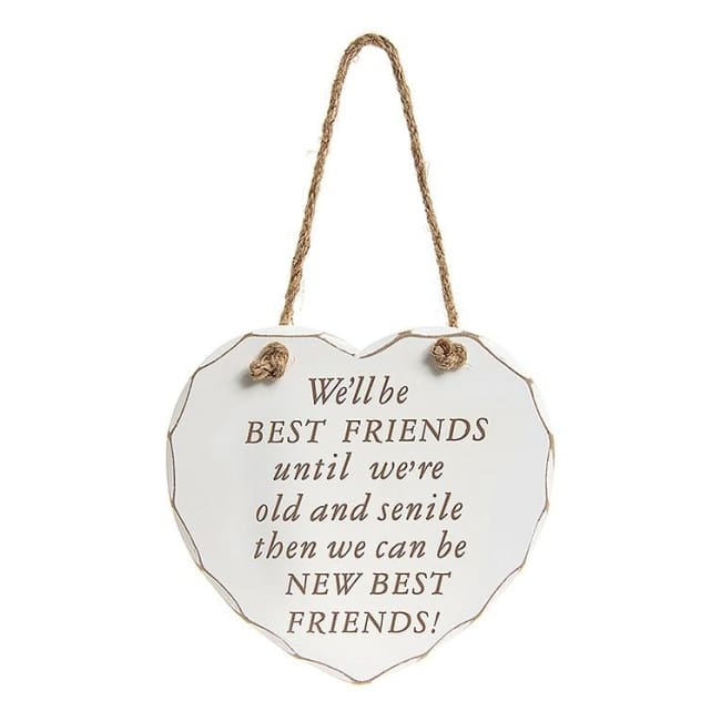 Shabby chic heart - We'll be Best Friends until we're old and senile then we can be new best friends.