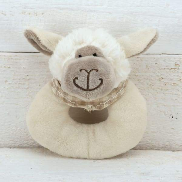 Sheep Baby Rattle In Creamy White