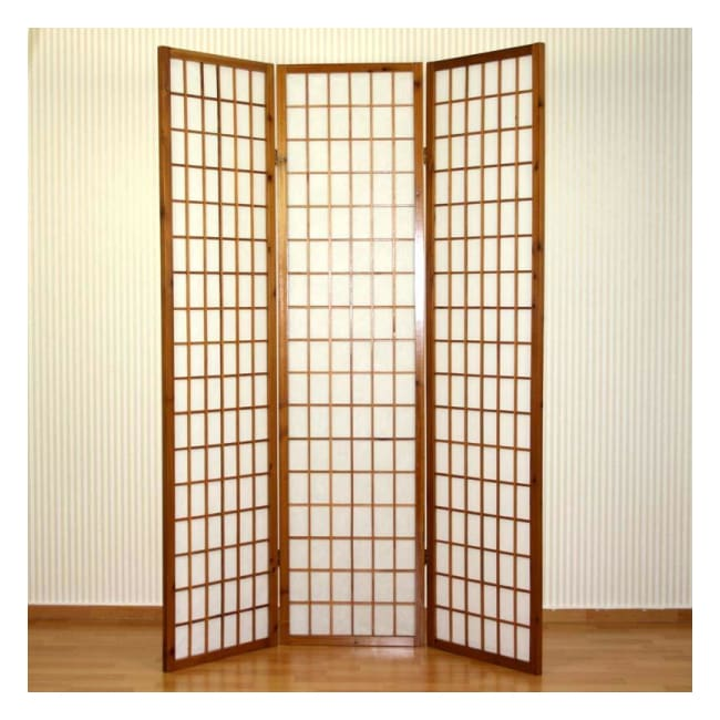 Pleasant Shoji Room Divider 3 Panel Brown Wood Frame Screen Home Interior And Landscaping Analalmasignezvosmurscom