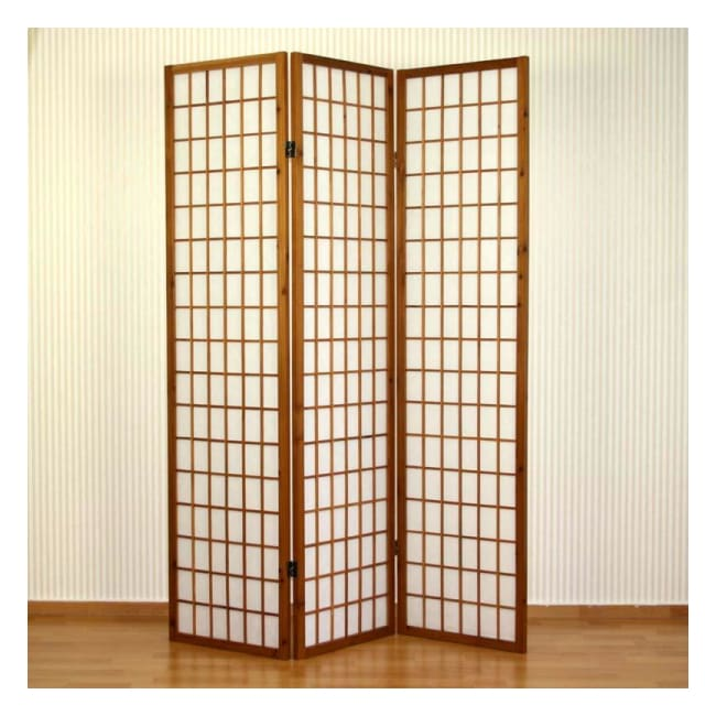 Shoji Room Divider  - 3 Panel Brown Wood Frame Screen