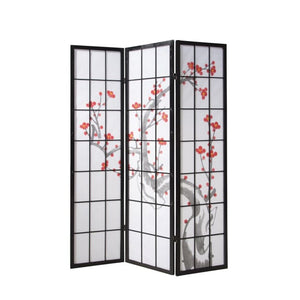 Shoji Room Divider  - 3 Panel Cherry Blossom Black Wood Frame
