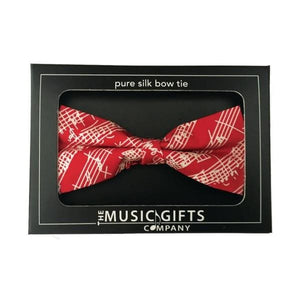 Silk Bow Tie - Red and White Mozart Manuscript