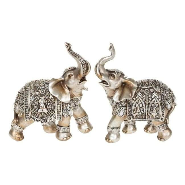 Silver Buddha Elephant Ornament Medium