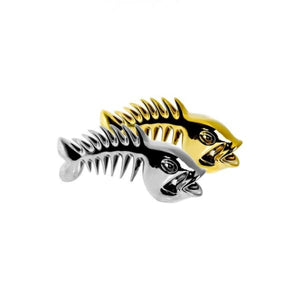 Silver Ceramic Skeletal Fish Sculpture - Home - Ornaments
