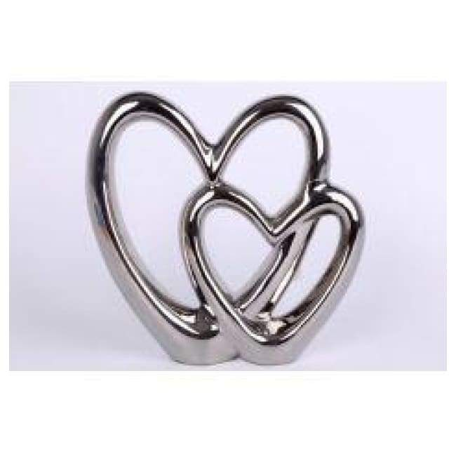 Silver Double Heart Ornament - Large - Home Decor - Metal