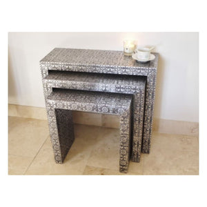 Silver Embossed Set Of Three Nested Tables