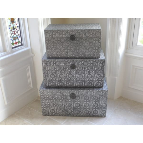 Silver Embossed Storage Trunk - Medium