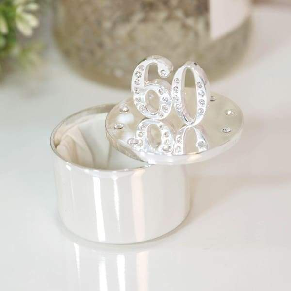 Silver Plated 60th Birthday Trinket Box With Crystals - 60 Birthday