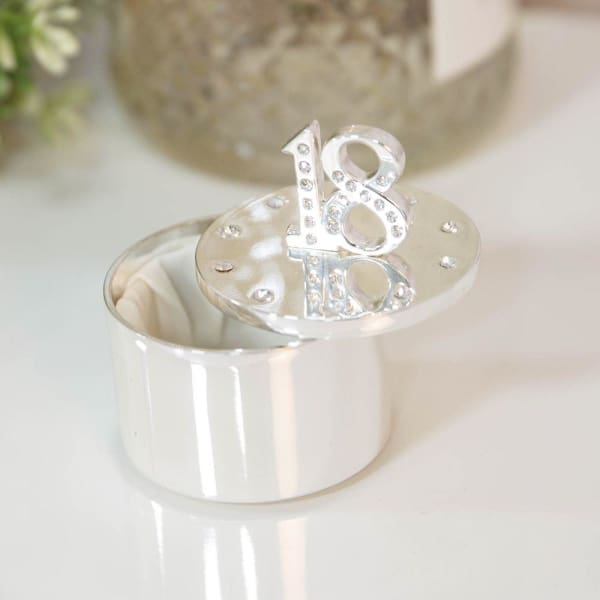 Silver Plated Trinket Box With Crystals - 18th Birthday