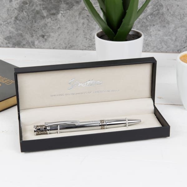 Silver Stratton Ballpoint Pen With Ornate Scroll Trim