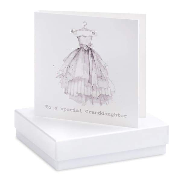 Special Grandaughter Silver Earrings on Designer Card by Crumble and Core