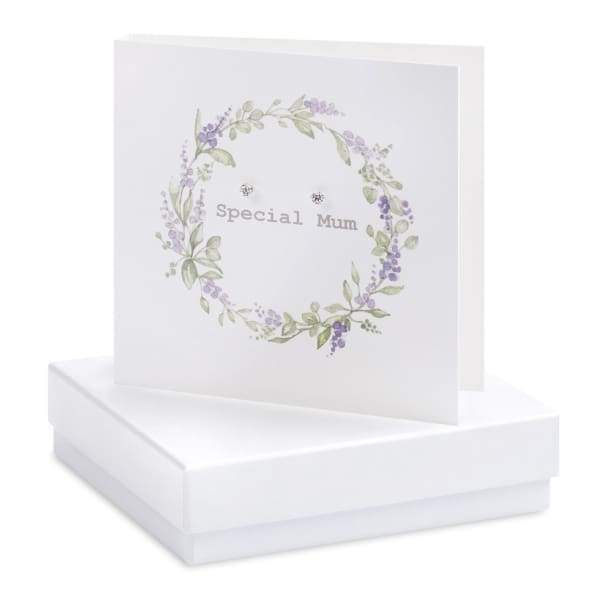 Special Mum Silver Earrings on Designer Card by Crumble and Core