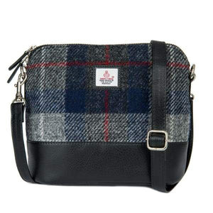 Square Shoulder Bag - Blue Check Harris Tweed