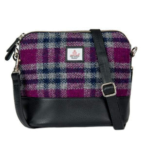 Square Shoulder Bag - Pink Check Harris Tweed