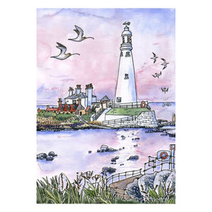 "St Mary's Lighthouse (16""x12"") Print by Sarah Farooqi"