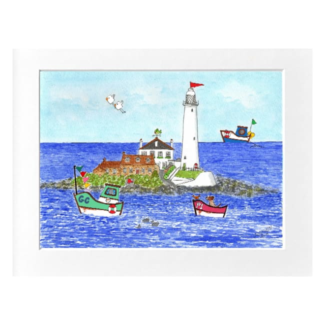 "St Mary's Lighthouse Whitley Bay Print (16""x12"") by Zoe Emma Scott"