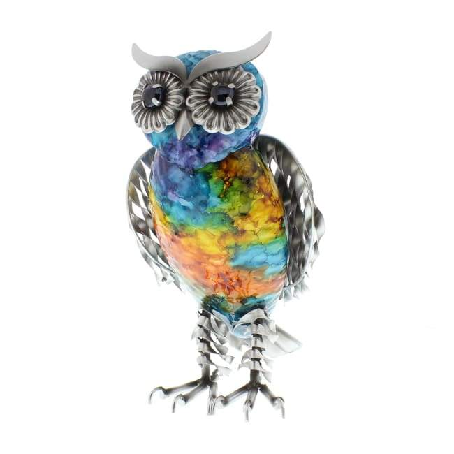 Standing Rainbow Metal Owl - Hand Crafted & Painted