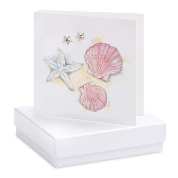 Starfish Silver Stud Earrings On Designer Card