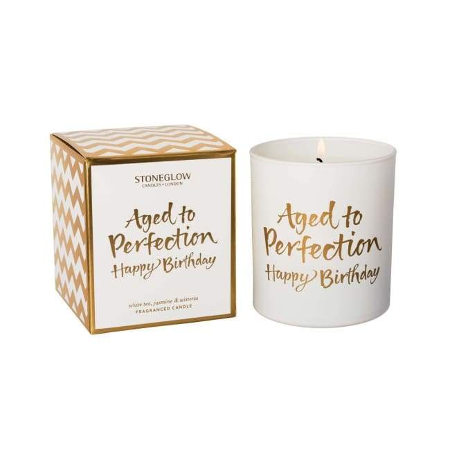 Stoneglow Candle - Aged to Perfection Happy Birthday