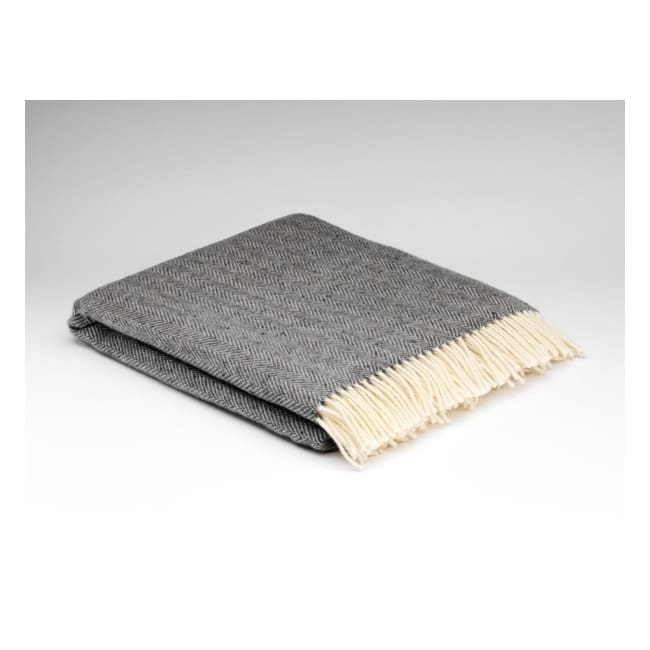 Storm Cloud Heritage Herringbone - Pure Wool Throw by McNutt