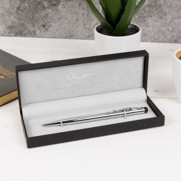 Stratton - Ball Point Silver Barrel Pen With Stylus