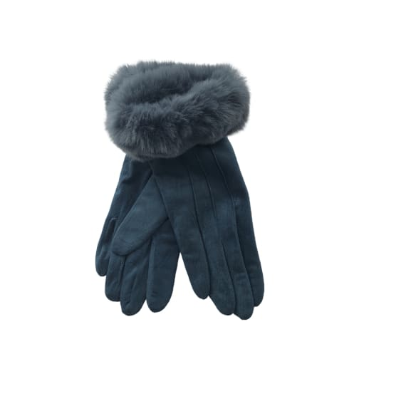 Teal Glove with faux fur trim by Peace of Mind