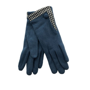 Teal Glove with houndstooth trim by Peace of Mind