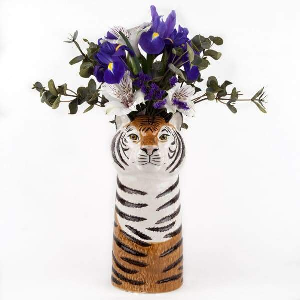 Tiger Ceramic Flower Vase by Quail Ceramics