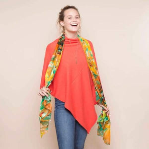 Tropical Garden Orange Large Silk Scarf by Tilley & Grace