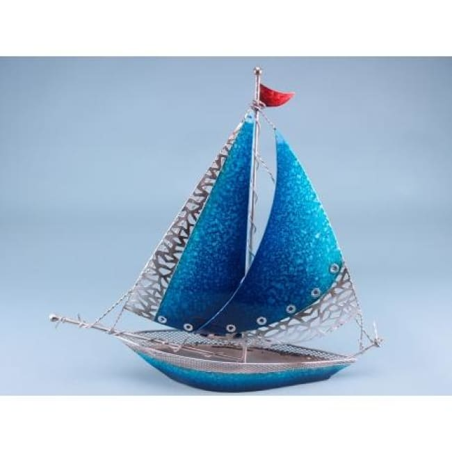 Two Tone Blue Metal Yacht - Seaside - Plaque