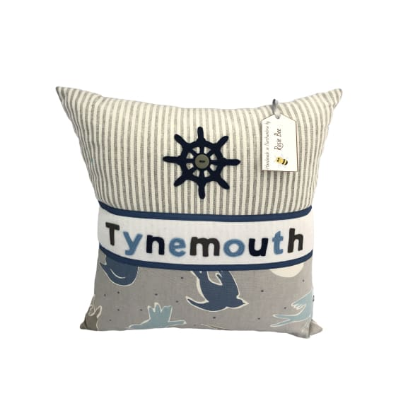 Tynemouth Cushion Large - Blue Anchor and Birds design