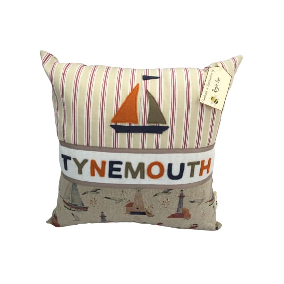 Tynemouth Cushion Large - Boat and Lighthouse Design