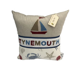 Tynemouth Cushion Large - Boat and Shells & Crab Design