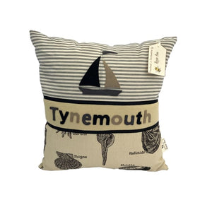 Tynemouth Cushion Large - Boat and shells design