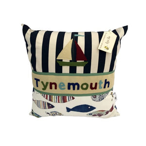 Tynemouth Cushion Large - Boat Motif and Fish