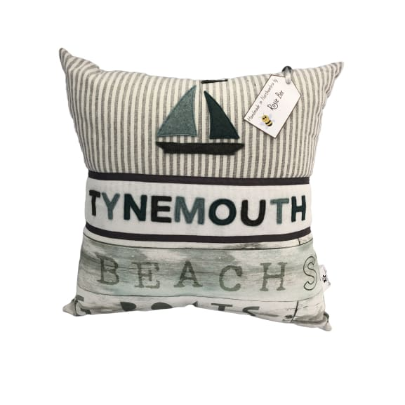 Tynemouth Cushion Large - Light Greens and White Boat Design